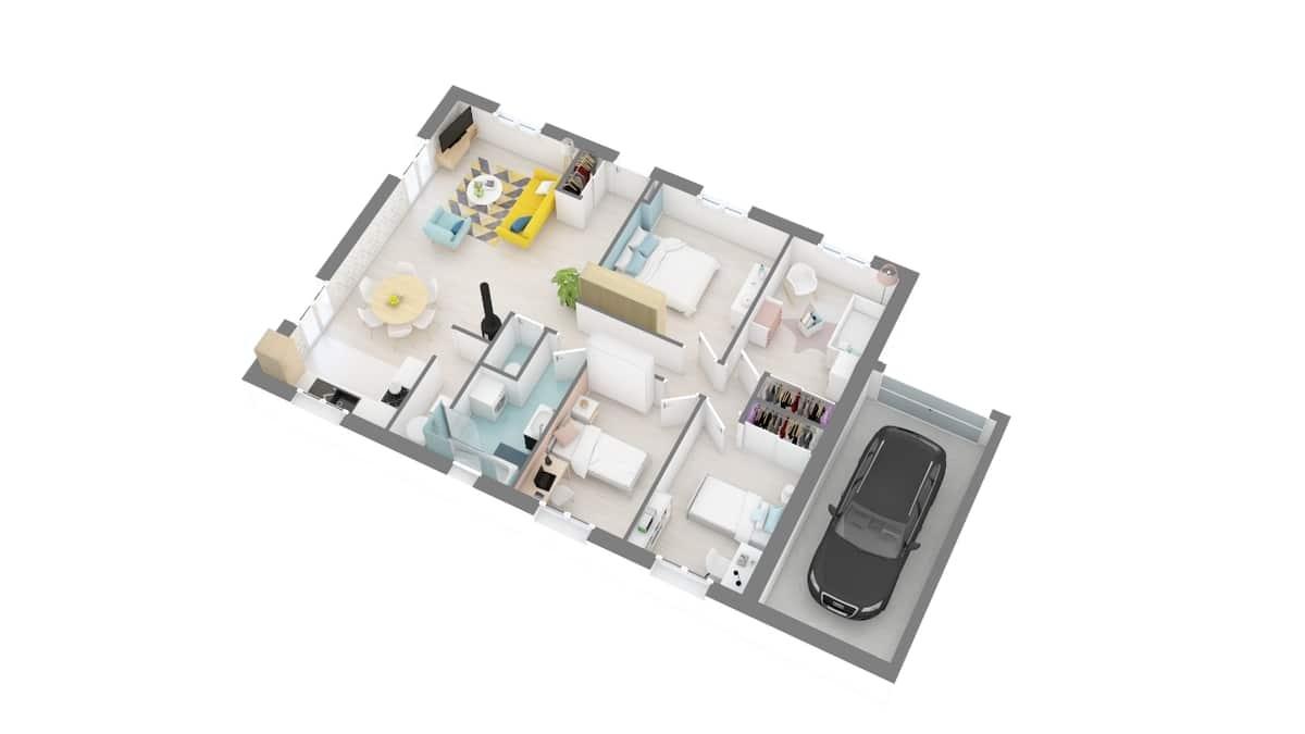 plan maison_c-line-g0-axo_rdc
